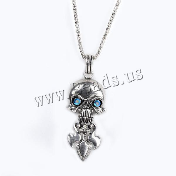 Buy Gets® Jewelry Necklace Zinc Alloy iron chain Skull antique bronze color plated lantern chain & rhinestone nickel lead & cadmium free 29x83mm Sold Per Approx 27.5 Inch Strand
