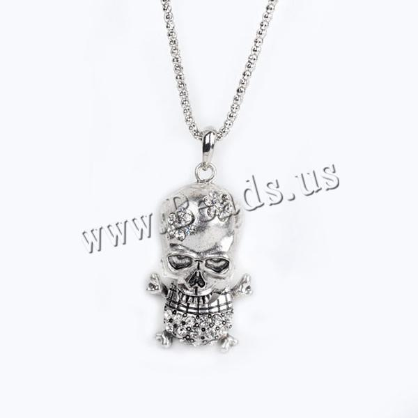 Buy Gets® Jewelry Necklace Zinc Alloy iron chain Skull antique bronze color plated lantern chain & rhinestone nickel lead & cadmium free 25x65mm Sold Per Approx 27.5 Inch Strand