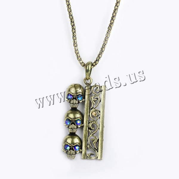 Buy Gets® Jewelry Necklace Zinc Alloy iron chain Skull antique bronze color plated lantern chain & rhinestone nickel lead & cadmium free 29x70mm Sold Per Approx 27.5 Inch Strand