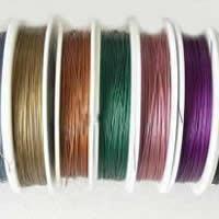 Stahldraht, mit Kunststoffspule, mit bedecktem Gummi & 7 Garn & Stahl Durchmesser:0.35 mm, gemischte Farben, 0.50mm, Länge:100 m, 3Taschen/Menge, 10PCs/Tasche, verkauft von Menge