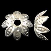 Eisen Perlenkappen, Blume, silberfarben plattiert, frei von Nickel, Blei & Kadmium, 10.5x4mm, Bohrung:ca. 2mm, 5000PCs/Tasche, verkauft von Tasche