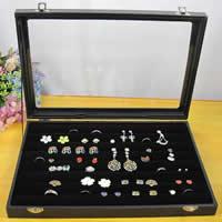 Holz-Ring Box, Holz, mit Baumwollsamt & Glas & Zinklegierung, Rechteck, schwarz, 350x240mm, 3PCs/Menge, verkauft von Menge