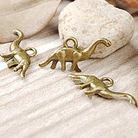 Zinklegierung Tier Anhänger, Dinosaurier, antike Bronzefarbe plattiert, frei von Nickel, Blei & Kadmium, 27x12mm, Bohrung:ca. 1-3mm, 600PCs/Menge, verkauft von Menge