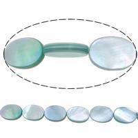 Natürliche weiße Muschelperlen, flachoval, blau, 14x10x3mm, Bohrung:ca. 1mm, Länge:ca. 16 ZollInch, 10SträngeStrang/Menge, ca. 29PCs/Strang, verkauft von Menge