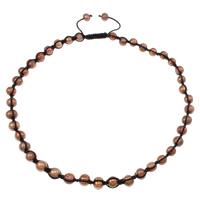 Natürliche kultivierte Süßwasserperlen Woven Ball Halskette, mit Wachsschnur, rote Kaffeefarbe, 8-9mm, verkauft per ca. 23.5 ZollInch Strang