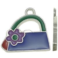 Zinklegierung Handtasche Anhänger, Platinfarbe platiniert, Emaille, frei von Nickel, Blei & Kadmium, 22x21x2mm, Bohrung:ca. 2mm, 25PCs/Tasche, verkauft von Tasche