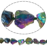 Natürliche Beschichtung Quarz Perlen, Natürlicher Quarz, Klumpen, bunte Farbe plattiert, 14-29mm, Bohrung:ca. 2.5mm, Länge:ca. 15.7 ZollInch, 5SträngeStrang/Menge, ca. 15PCs/Strang, verkauft von Menge