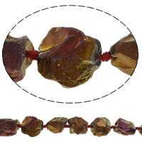 Natürliche Beschichtung Quarz Perlen, Natürlicher Quarz, Klumpen, 17-27mm, Bohrung:ca. 3mm, Länge:ca. 15.7 ZollInch, 5SträngeStrang/Menge, ca. 15PCs/Strang, verkauft von Menge