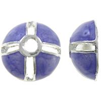 Zinklegierung Perlenkappe, Dom, silberfarben plattiert, Emaille, violett, frei von Nickel, Blei & Kadmium, 12x5mm, Bohrung:ca. 2mm, 10PCs/Tasche, verkauft von Tasche