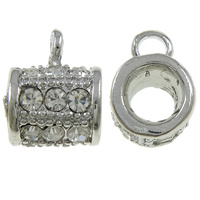 Zinklegierung Stiftöse Perlen, Rohr, Platinfarbe platiniert, mit Strass, frei von Nickel, Blei & Kadmium, 11.50x10x15mm, Bohrung:ca. 3mm, 10PCs/Tasche, verkauft von Tasche