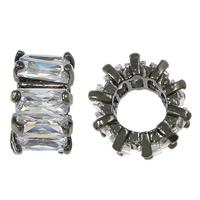 Zirkonia Micro Pave Messing Europa Bead, Rondell, metallschwarz plattiert, Micro pave Zirkonia & großes Loch, frei von Nickel, Blei & Kadmium, 6.50x11mm, Bohrung:ca. 6mm, 10PCs/Menge, verkauft von Menge