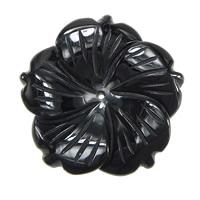 Schwarzer Obsidian Anhänger, Blume, 49x49x8mm, Bohrung:ca. 1.5mm, 10PCs/Menge, verkauft von Menge