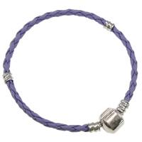 European Armband, Leder, Messing Europa Verschluss, Platinfarbe platiniert, hellviolett, frei von Nickel, Blei & Kadmium, 2.5mm, Länge:ca. 7 ZollInch, 10SträngeStrang/Tasche, verkauft von Tasche