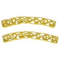 Zinklegierung Rohr Perlen, goldfarben plattiert, hohl, frei von Nickel, Blei & Kadmium, 51x10x7mm, Bohrung:ca. 5mm, 10PCs/Tasche, verkauft von Tasche