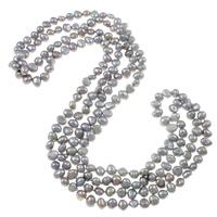 Natürliche Süßwasserperlen Halskette, Natürliche kultivierte Süßwasserperlen, Barock, 2 strängig, grau, 7-8mm, verkauft per ca. 62 ZollInch Strang