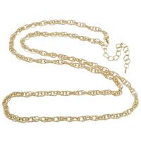 Eiserne Halskette Kette, Eisen, mit Verlängerungskettchen von 8cm, goldfarben plattiert, Seil-Kette, frei von Nickel, Blei & Kadmium, 7.50x5x1mm, Länge:ca. 30 ZollInch, 10SträngeStrang/Tasche, verkauft von Tasche
