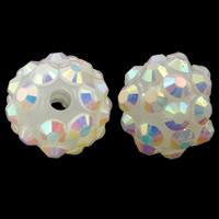 Harz Strass Perlen, Trommel, weiß, 10x12mm, Bohrung:ca. 2mm, 100PCs/Tasche, verkauft von Tasche