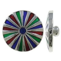 Zinklegierung Verbindungselement Komponente ausrichten, flache Runde, Platinfarbe platiniert, Emaille, farbenfroh, frei von Nickel, Blei & Kadmium, 20x8mm, 5PCs/Tasche, verkauft von Tasche