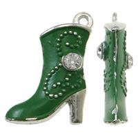 Zinklegierung Schuhe Anhänger, Spritzlackierung, mit Strass, grün, frei von Nickel, Blei & Kadmium, 16x21x4mm, Bohrung:ca. 1.5mm, 50PCs/Tasche, verkauft von Tasche