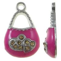 Zinklegierung Handtasche Anhänger, Platinfarbe platiniert, Emaille & mit Strass, Rosa, frei von Nickel, Blei & Kadmium, 12x20x4mm, Bohrung:ca. 2mm, 50PCs/Tasche, verkauft von Tasche