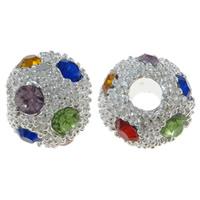 Strass Zinklegierung Perlen, rund, silberfarben plattiert, mit Strass, frei von Nickel, Blei & Kadmium, 12x11mm, Bohrung:ca. 3mm, 10PCs/Tasche, verkauft von Tasche