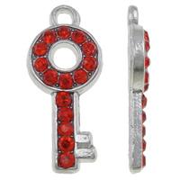 Zinklegierung Schlüssel Anhänger, Platinfarbe platiniert, mit Strass, rot, frei von Nickel, Blei & Kadmium, 8x18.50x2mm, Bohrung:ca. 1.5mm, 100PCs/Tasche, verkauft von Tasche