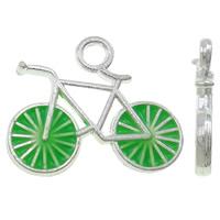 Fahrzeug Zinklegierung Anhänger, Fahrrad, silberfarben plattiert, Emaille, grün, frei von Nickel, Blei & Kadmium, 15.50x13x2.50mm, Bohrung:ca. 2mm, 100PCs/Tasche, verkauft von Tasche