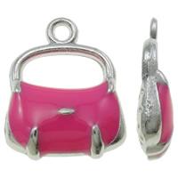 Zinklegierung Handtasche Anhänger, Platinfarbe platiniert, Emaille, rosarot, frei von Nickel, Blei & Kadmium, 13x17x4mm, Bohrung:ca. 1.5mm, 100PCs/Tasche, verkauft von Tasche