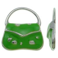 Zinklegierung Handtasche Anhänger, Platinfarbe platiniert, Emaille, grün, frei von Nickel, Blei & Kadmium, 15.50x18x3mm, Bohrung:ca. 11.5x6.5mm, 100PCs/Tasche, verkauft von Tasche