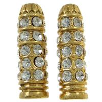 Strass Zinklegierung Perlen, Kugel, goldfarben plattiert, mit Strass, frei von Nickel, Blei & Kadmium, 8x25mm, Bohrung:ca. 3mm, 10PCs/Tasche, verkauft von Tasche