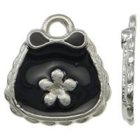 Zinklegierung Handtasche Anhänger, Platinfarbe platiniert, mit Blumenmuster & Emaille, schwarz, frei von Nickel, Blei & Kadmium, 13x14x2mm, Bohrung:ca. 1mm, 100PCs/Tasche, verkauft von Tasche