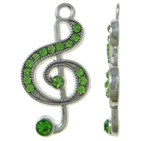 Musikinstrument Zinklegierung Anhänger, Musiknote, Platinfarbe platiniert, mit Strass, grün, frei von Nickel, Blei & Kadmium, 15x28x3mm, Bohrung:ca. 2mm, 100PCs/Tasche, verkauft von Tasche
