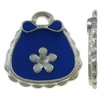 Zinklegierung Handtasche Anhänger, Platinfarbe platiniert, mit Blumenmuster & Emaille, blau, frei von Nickel, Blei & Kadmium, 13x14x1.50mm, Bohrung:ca. 1.5mm, 100PCs/Tasche, verkauft von Tasche
