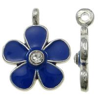 Zinklegierung Blume Anhänger, Platinfarbe platiniert, Emaille & mit Strass, blau, frei von Nickel, Blei & Kadmium, 15x18x3mm, Bohrung:ca. 1mm, 100PCs/Tasche, verkauft von Tasche