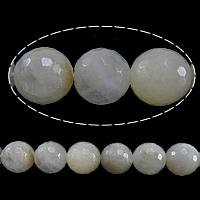 Mondstein Perlen, rund, facettierte, 10mm, Bohrung:ca. 1mm, Länge:ca. 15 ZollInch, 2SträngeStrang/Menge, ca. 37PCs/Strang, verkauft von Menge