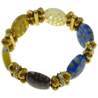 Millefiori Glas Armband, Glas Millefiori, mit Messing Strass Zwischenstück & Kristall, goldfarben plattiert, Perlen Armband, 21x17x6mm, Länge:ca. 7.5 ZollInch, 10SträngeStrang/Tasche, verkauft von Tasche