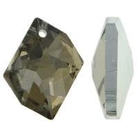 KRISTALLanhänger, Kristall, Klumpen, silberfarben plattiert, facettierte, hellmokka, 20x16x4mm, Bohrung:ca. 1.5mm, 10PCs/Tasche, verkauft von Tasche