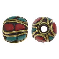 Indonesien Perlen, mit Natürliche Türkis & Messing, Trommel, 10-12x10mm, Bohrung:ca. 1.5mm, 20PCs/Menge, verkauft von Menge