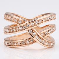 comeon® Finger-Ring, Zinklegierung, echtes Rósegold plattiert, Weitere Größen für Wahl & mit Strass, frei von Nickel, Blei & Kadmium, 15mm, verkauft von PC