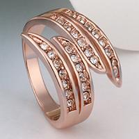 comeon® Finger-Ring, Zinklegierung, echtes Rósegold plattiert, Weitere Größen für Wahl & mit Strass, frei von Nickel, Blei & Kadmium, 18x3mm, verkauft von PC