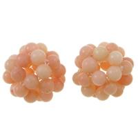 Natürliche Koralle Cluster Perlenball, rund, aprikosengelb, 14mm, Bohrung:ca. 3.5mm, 10PCs/Tasche, verkauft von Tasche