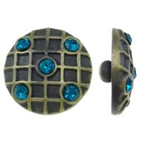 """Schaltfläche """"Chunk"""", Zinklegierung, flache Runde, antike Bronzefarbe plattiert, gebürstet & mit Strass, frei von Nickel, Blei & Kadmium, 20x9mm, 5PCs/Tasche, verkauft von Tasche"""