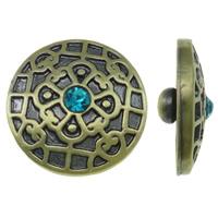 """Schaltfläche """"Chunk"""", Zinklegierung, flache Runde, antike Bronzefarbe plattiert, gebürstet & mit Strass, frei von Nickel, Blei & Kadmium, 20x8.5mm, 5PCs/Tasche, verkauft von Tasche"""
