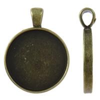 Zink-Legierung Cabochon Weissgold, Zinklegierung, flache Runde, antike Bronzefarbe plattiert, frei von Nickel, Blei & Kadmium, 28x36x7mm, Bohrung:ca. 4x6mm, Innendurchmesser:ca. 24mm, ca. 145PCs/kg, verkauft von kg