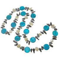 Natürliche Süßwasserperlen Halskette, Natürliche kultivierte Süßwasserperlen, mit Muschel, Klumpen, 6-20mm, verkauft per ca. 35 ZollInch Strang