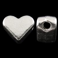 Zinklegierung Herz Perlen, hell silberfarben plattiert, frei von Nickel, Blei & Kadmium, 6x4mm, Bohrung:ca. 1mm, ca. 1950PCs/kg, verkauft von kg