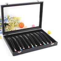 Leder Halskettenkasten, Karton, mit PU Leder & Baumwollsamt & Glas, Rechteck, schwarz, 350x240x45mm, 2PCs/Menge, verkauft von Menge