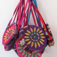 Leinen Folk Art-Tasche, flache Runde, Stickerei, gemischte Farben, 16cm, 20PCs/Menge, verkauft von Menge