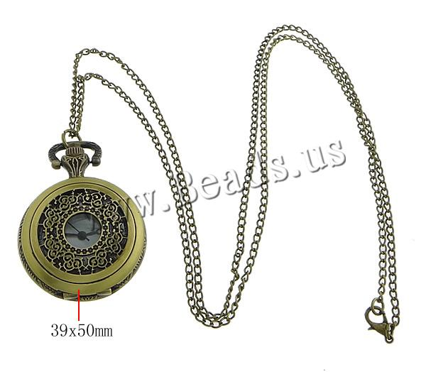 Buy Fashion Watch Necklace Zinc Alloy Flat Round antique bronze color plated twist oval chain nickel lead & cadmium free 50x38x14mm Length:Approx 31.5 Inch 10Strands/Lot Sold Lot