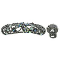 Zinklegierung Rohr Perlen, antik silberfarben plattiert, mit Strass & hohl, keine, frei von Blei & Kadmium, 15x56x12mm, Bohrung:ca. 7x8mm, 10PCs/Tasche, verkauft von Tasche